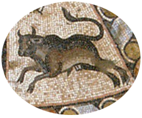 Taurus from the Hamat Tiberias synagogue mosaic., c. 300 BCE.