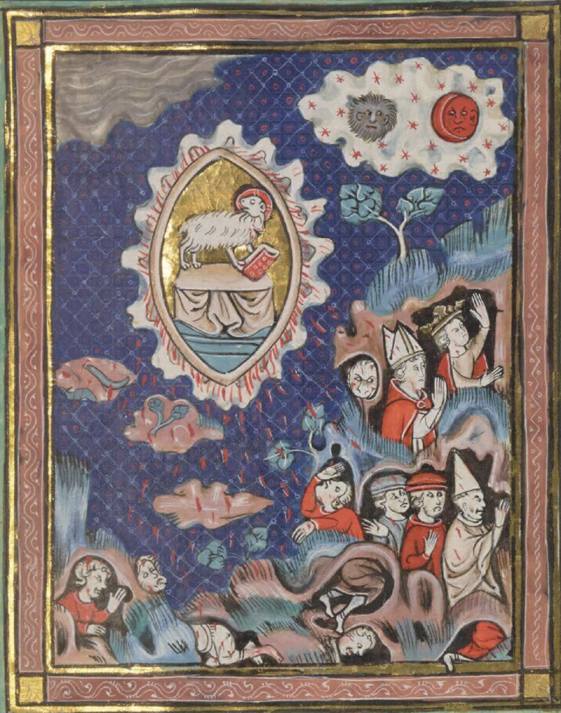 Apocalyptic vision with Agnus Dei, people hiding, and a sun and moon with faces.