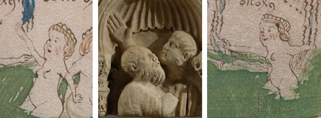 Comparison of gestures between the VMS and figures on a Roman sarcophagus.