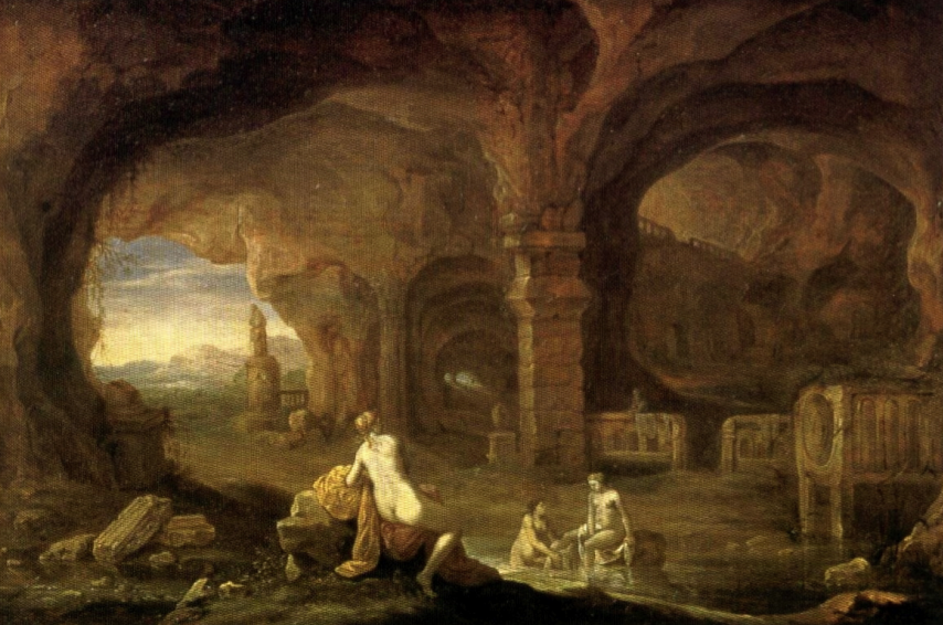 Nymphs bathing in arched grottoes by Van Culenborch.
