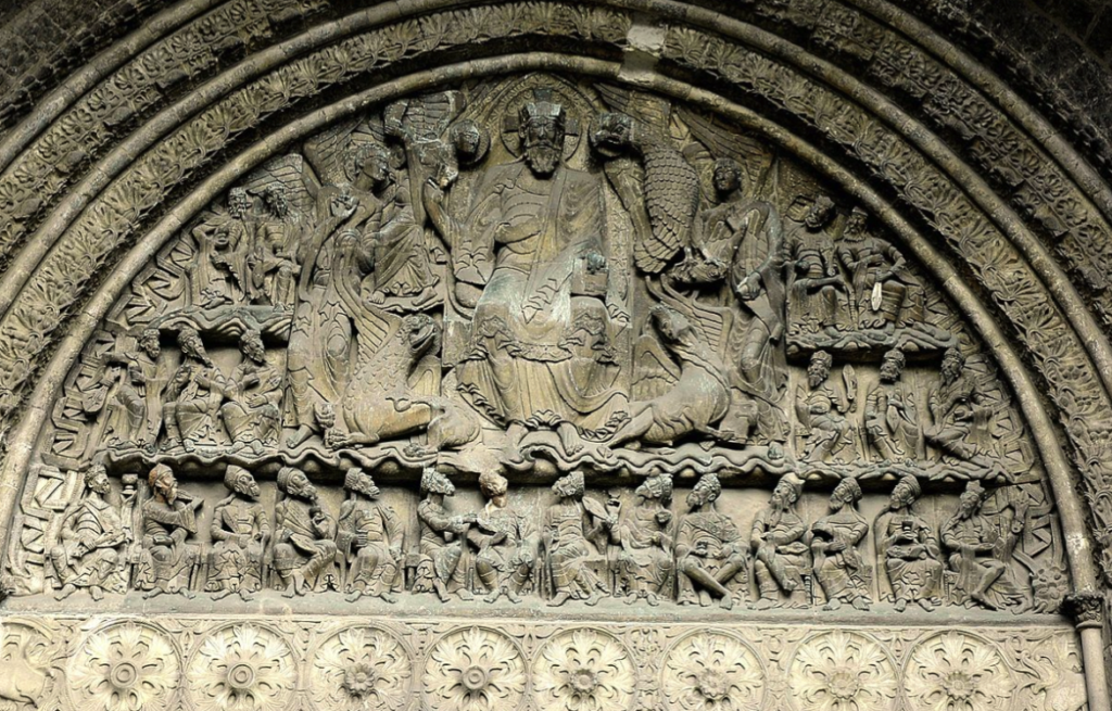 Moissac Tympanum with apostles, evangelists, and Christ top-center.