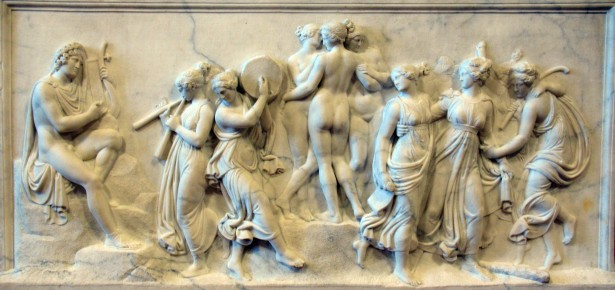 Apollo plays music while nymphs and graces play music and dance.