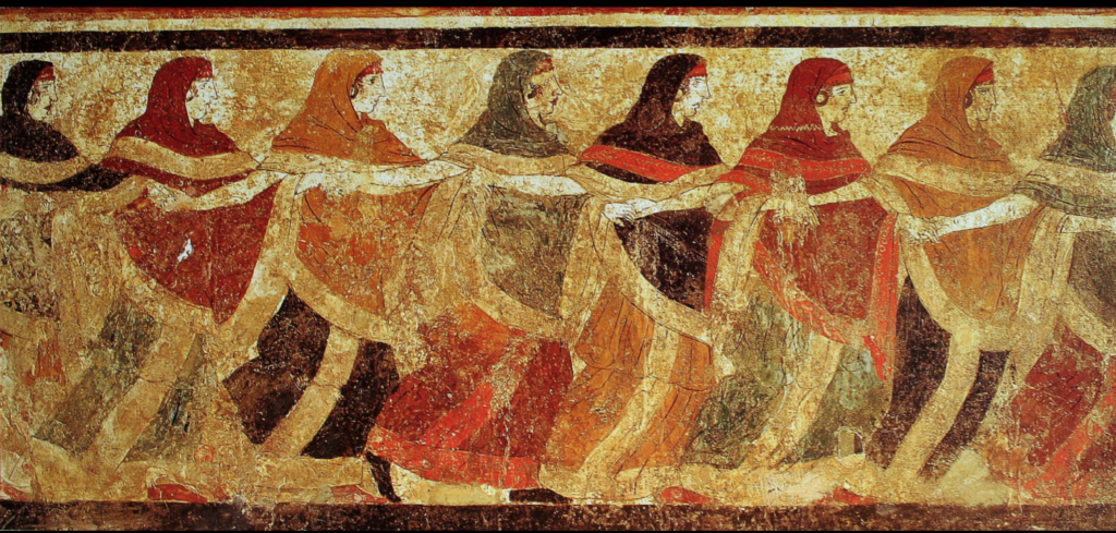 c. 5 BCE Peucetian frescue of  figures dancing