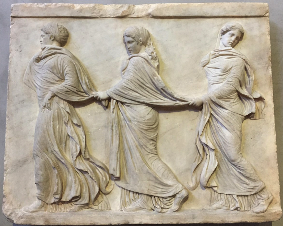 Roman relief three nymphs dancing