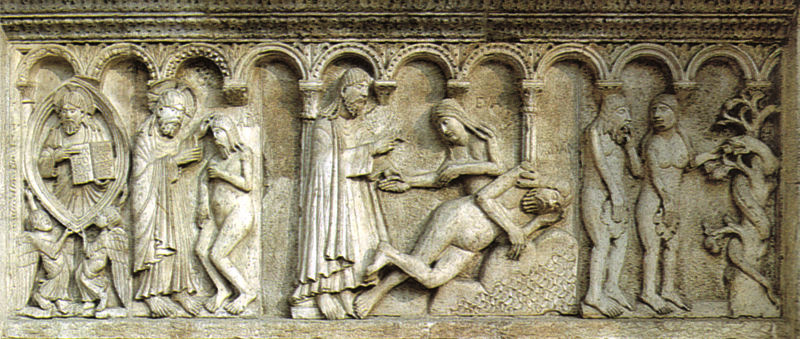 Adam and Eve story by Wiligelmo in the Cathedral of Modena, Italy